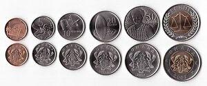GHANA - RARE 6 DIF UNC COINS FULL SET 1 PESEWA - 1 CEDI BIMETAL 2007 YEAR