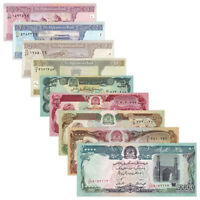 Afghanistan 9 PCS World Banknotes 1-100,500,1000,10000 AFN Real Currency UNC