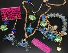 Betsey Johnson Crystal Shell Crab Starfish Pearl Bracelet Necklace Earrings Set