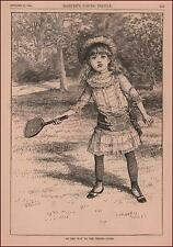 GIRL WITH TENNIS RACKET ON WAY TO THE COURT, ANTIQUE ENGRAVING ORIGINAL 1884