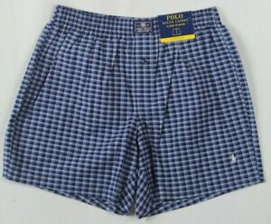 Ralph Lauren Classic Fit Stretch Blue Plaid Boxer Shorts White Pony NWT