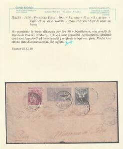 1918 19 MAR ESPRESSO C.25 SU C.40 +2 VALORI CROCE ROSSA SASS 102/3+E3 SU BUSTA X