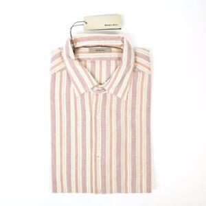 Boglioli Rosa Arancione Verde a Righe Slim Fit Cotone Abito Sport Camicia 16 41