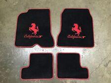 FERRARI CALIFORNIA or T 4 PC CUSTOM CAR FLOOR MATS RED LOGO & RED EDGING QUALITY