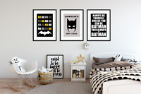 Personalised Boys Bedroom A4 Prints - BATMAN PICTURES Home Decor Set of 3