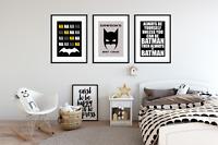 Personalised Boys Bedroom BATMAN PICTURES  / A3 Prints - / Kids Room / Set of 3
