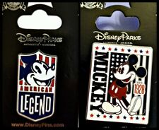 Disney Parks 2 Pin Lot Mickey Mouse USA American Legend + flag Est.1928