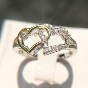 Valentine's Day Rings Silver Engagement European Style Double Heart Wedding S3