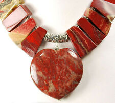 "Natural Red Jasper Nugget & Heart Pendant Silver Toggle Necklace 20"" FREE SHIPPI"