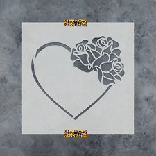 Heart with Roses Stencil - Durable & Reusable Mylar Stencils