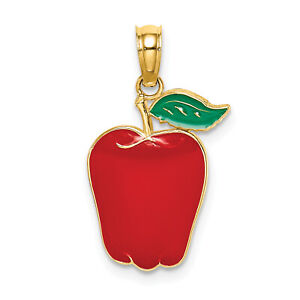 Lex & Lu 14k Yellow Gold Enamel Red Delicious Apple w/Stem and Leaf / 2D Charm