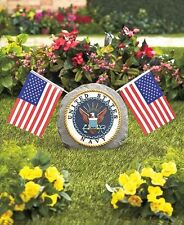 Navy Military Garden Marker Stone With US Flags Memorial / Yard Decor