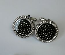 Designer cufflinks: Black and silver with circle swirls