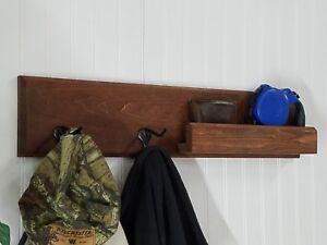 Entryway Bathroom Organizer Wall Floating Shelf Mail Storage Key Coat Hat Rack