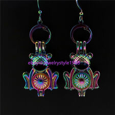 C-E667 Rainbow color Frog Pearl Cage Locket Diffuser Hook Earring