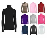 LADIES LONG SLEEVE POLO NECKTOP WOMENS TURTLE NECK PLAIN JUMPER 8-14
