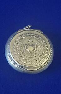 Antique 1900s French Silver Plated Rouge or Solid Scent Case Chatelain Pendant