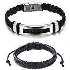 2 Armband echtes Leder für Männer Herren Damen schwarz braun Edelstahl silber