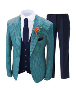 Mens 3Pieces Wedding Suit Prom Tuxedos Wool Blend Plaid Slim Groomsman Vintage+