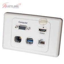 VGA PC HDMI 2.0 RJ45 Cat6 F/F USB 3.0 Toslink Optical Wall Plate VgaHdC6U3Op
