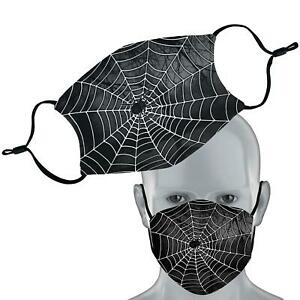 Black Spider Web Halloween Face Mask Double Layer Washable Face Cover
