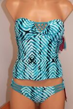 NWT Hula Honey Swimsuit Bikini Tankini 2pc set Sz XS Bandeau Blue Strapless