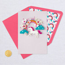 Hallmark Birthday Card by Signature ~ 3D Unicorn w/ Rainbow Magical B-Day