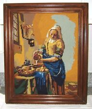 Johannes Vermeer The Milkmaid Tapestry Canvas Needlepoint Picture Framed Vintage