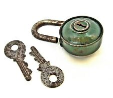 Antique vintage padlock with two keys Iron in green paint Bulgaria 40's