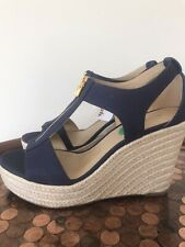 Womens Michael Kors Navy Blue Wedge with Zipper, size 8 NEW