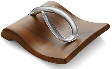 Acacia Wood Napkin Holder Stainless Steel Metal Fine Table Stand, Store Napkins