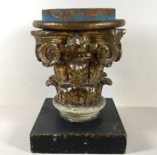 Antikes Barock Kapitell Säule Holz geschnitzt vergoldet 18 Jh.