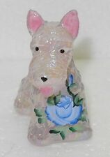 Boyd Glass Duke Scottie Dog Handpainted Pink Carnival with Blue Flower