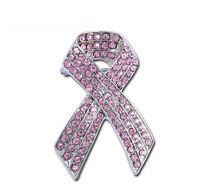 Beautiful Women Pink Ribbon Bow Knot Cancer Awarness Shiny Brooch Pin BR440