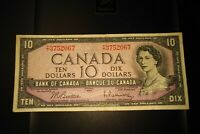 1954 $10 Dollar Bank of Canada Banknote TT3752067 F-VF