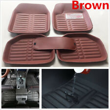 5Pc Brown PU Leather Universal Auto Car Floor Mats Carpet Front Rear Waterproof