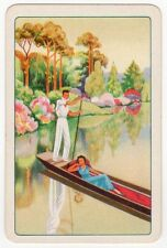 Playing Cards 1 Swap Card - Old Vintage Scenic River PUNT Boat Lady Man PUNTING