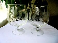 "Set of 2 Elegant Optic Bowl Wheat Cut Flared Rim Brandy Glasses 6"" Tall"