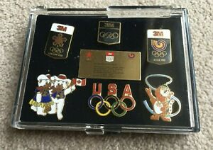 1988 Set of 3M limited edition badges / pins for the Seoul & Calgary Olympics
