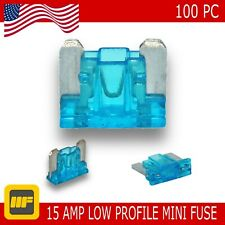 100 Pack Low Profile Mini Blade Fuse 15 Amp Marine SUV Truck Auto RV Automotive