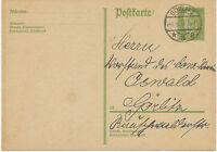 """DT.REICH 1930 Paul von Hindenburg 5 Pf hellgelbgrün Kab.-GA-Postkarte """"GÖRLITZ"""""""