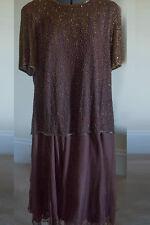 Silk Sequin Glitzy Copper Brown Evening Gown Cruise Dress Sz 22WP Jewel Queen