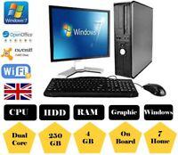 DESKTOP PC BUNDLE  DUAL CORE COMPUTER 4GB 250GB WINDOWS 7 Home WIFI READY