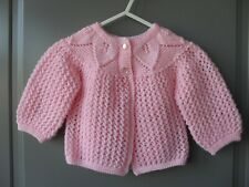 Handmade knitted baby girl pink seamless long sleeved cardigan, size 0-3 months
