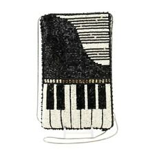 MARY FRANCES Beaded Cross-Body Piano Black Cell Phone Pouches Well Played New