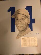 ERNIE BANKS Signed Autograph 18x24 Lithograph, Photo, Chicago Cubs MLB HOF