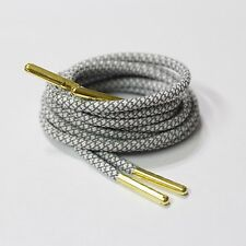 """36"""" White 3M Rope Shoe Laces With Gold Tip Kith Jordan Adidas Boost Asic Nike XI"""