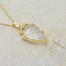 REAL Crystal Arrowhead Necklace, 24k Gold Plated Charm & Stainless Steel Chain