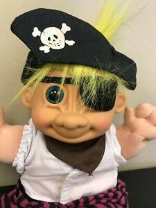 13 Inch Troll Pirate Toy Doll Plush Stuffed Yellow Hair Eyepatch Russ Vintage 1990s