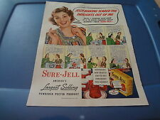 """1940 Sure-Jell Vintage Magazine Ad """"Jelly-making scared the daylights out of me"""""""